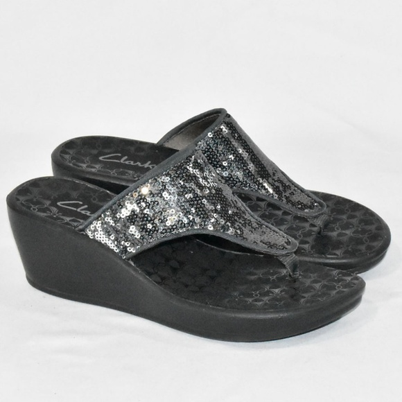fc6936d076a Clarks Women s Sequin Wedge Sandals 6M Gray Silver. Clarks.  M 5cb49aae26219f1d22c1b216. M 5cb49aaed948a170a7b30d10.  M 5cb49aaeaa7ed332a3870427